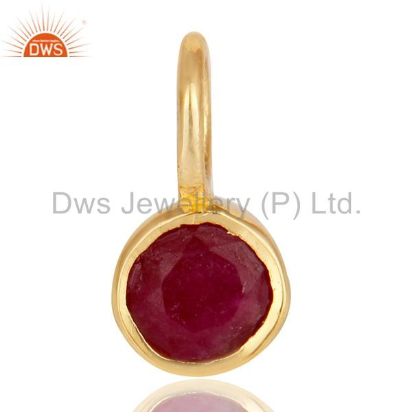 14k yellow gold plated 925 sterling silver ruby connector pendant jewelry
