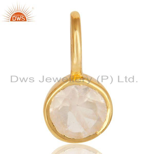 14k yellow gold plated 925 sterling silver rainbow moonstone connector pendant