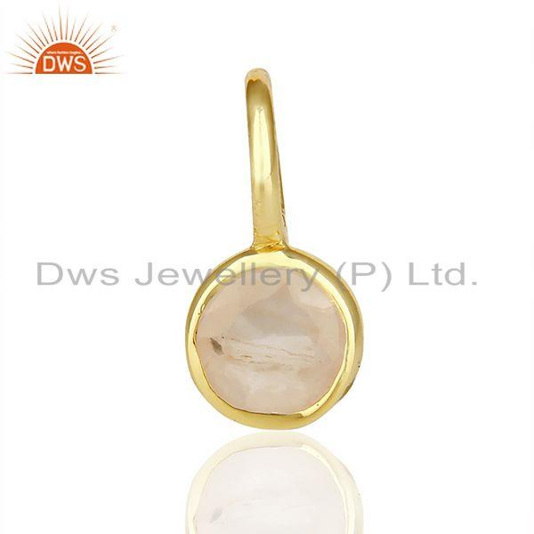 Rose Quartz Connector 14K Gold Plated 925 Sterling Silver Gemstone Jewelry