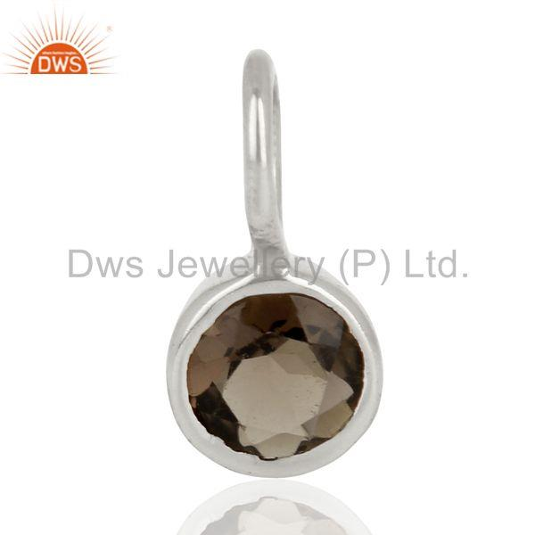 Smoky topaz round shape sterling silver silver plated connector pendant jewelry