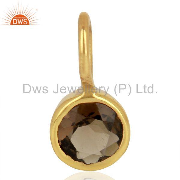 Smoky Topaz Sterling Silver 14K Yellow Gold Plated Connector Pendant Jewelry