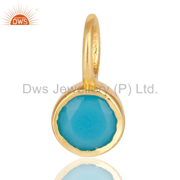 14K Yellow Gold Plated 925 Sterling Silver Turquoise Connector Pendant Jewelry
