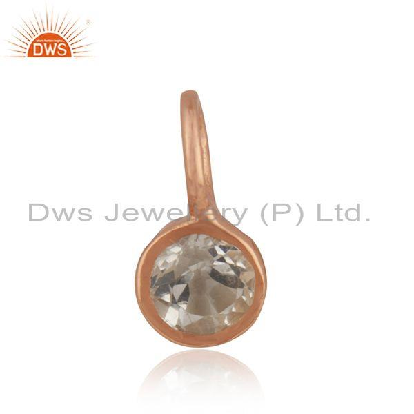 Rose gold plated silver white topaz gemstone pendant jewelry