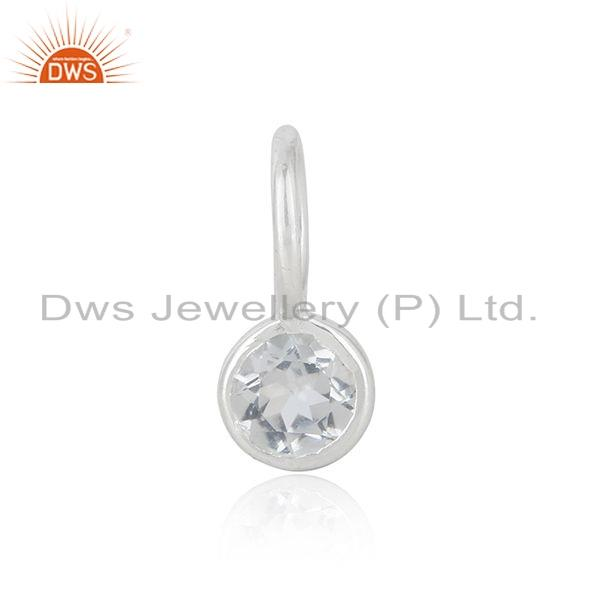 Without chain sterling fine silver white topa gemstone pendant jewelry