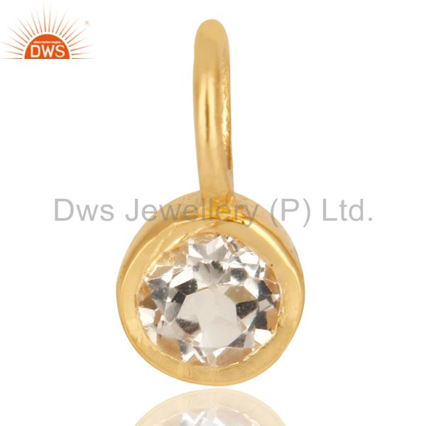 14K Yellow Gold Plated 925 Sterling Silver White Topaz Connector Pendant