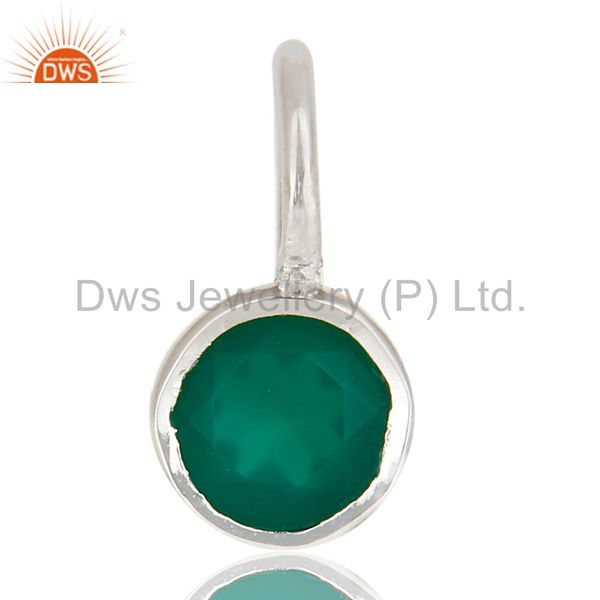 Beautiful Handmade Solid 925 Sterling Silver Green Onyx Connector Pendant
