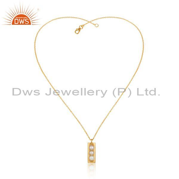 14K Gold Plated 925 Sterling Silver Handmade Pearl Prong Set Chain Pendant