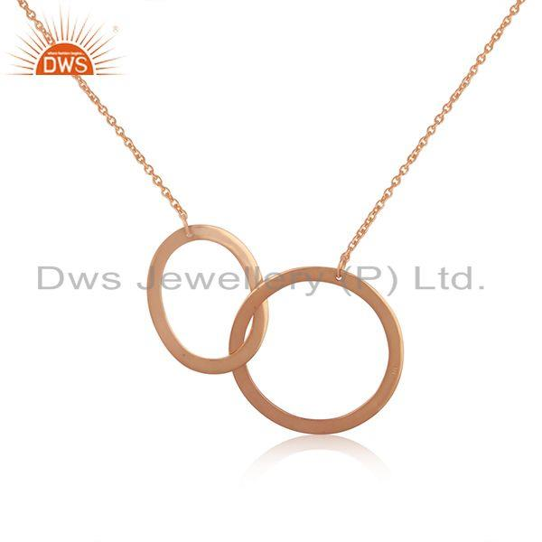 Circle Design Rose Gold Plated 925 Silver Indian Chain Necklace Manufacturer
