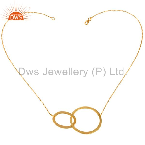 14K Yellow Gold Plated 925 Sterling Silver Round Fashion Style Chain Pendant
