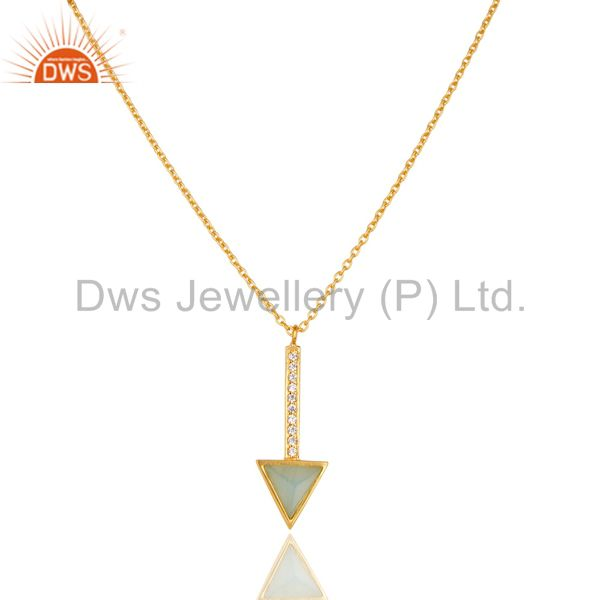 Aqua Chalcedony Triangle Cut 14 K Gold Plated 92.5 Sterling Silver Chain Pendent