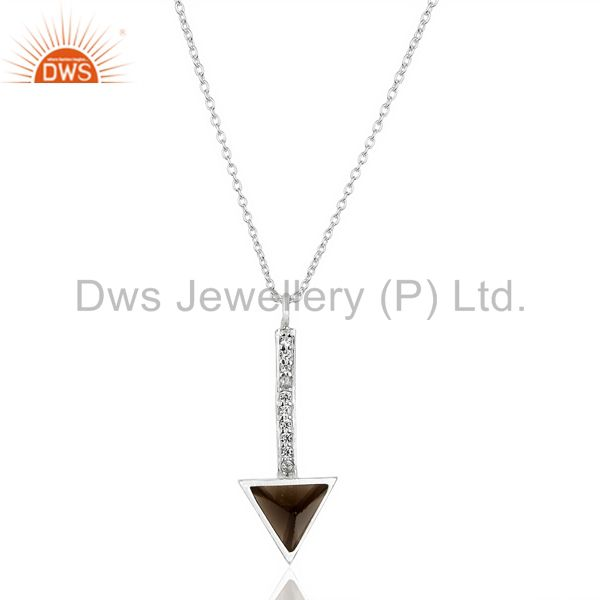 Smoky Topaz Triangle Cut 92.5 Sterling Silver Chain Pendent,Long Pendent