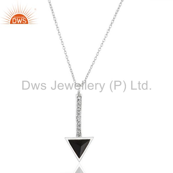 Black Onyx Triangle Cut 92.5 Sterling Silver Chain Pendent,Long Pendent