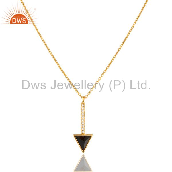 Black onyx triangle cut 14 k gold plated 92.5 sterling silver chain pendent