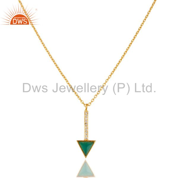 Green onyx triangle cut 14 k gold plated 92.5 sterling silver chain pendent