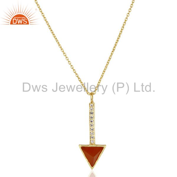 Red Onyx Triangle Cut 14 K Gold Plated 92.5 Sterling Silver Chain Pendent