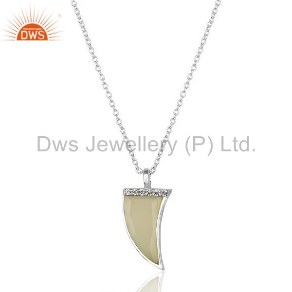 Aqua chalcedony horn cz studded chain 92.5 sterling silver pendent, trendy pendent
