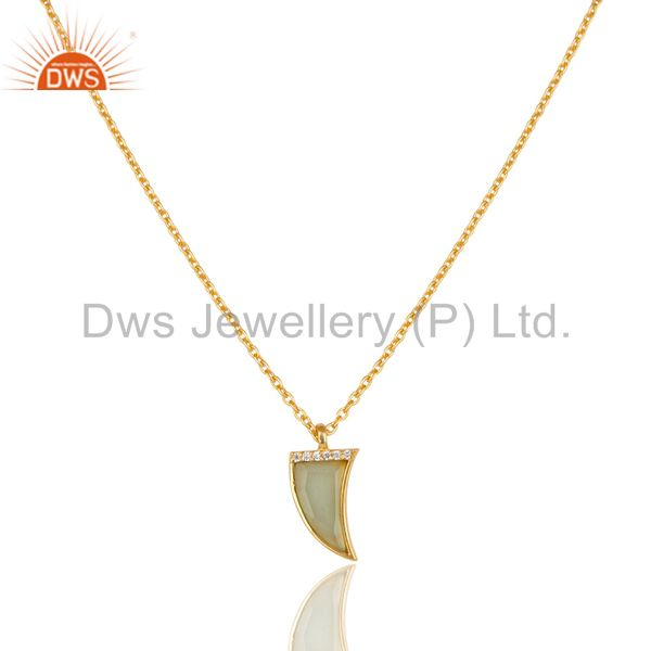 Aqua Chalcedony Horn Cz Studded 14 K Gold Plated chain 92.5 Silver Pendent