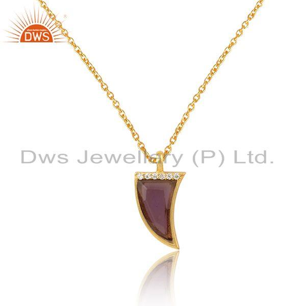 Blue corundum cz gemstone horn shape silver gold plated necklace