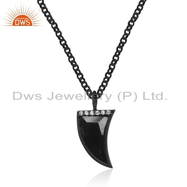 Black Rhodium Plated 925 Silver Hematite Stone Horn Pendant Manufacturer India