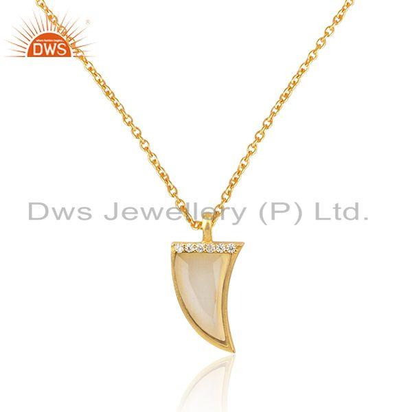 Cz white moonstone 925 silver gold plated chain pendant necklace