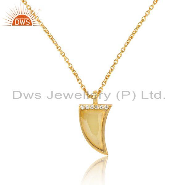 Cz yellow moonstone horn design gold plated silver pendant necklace