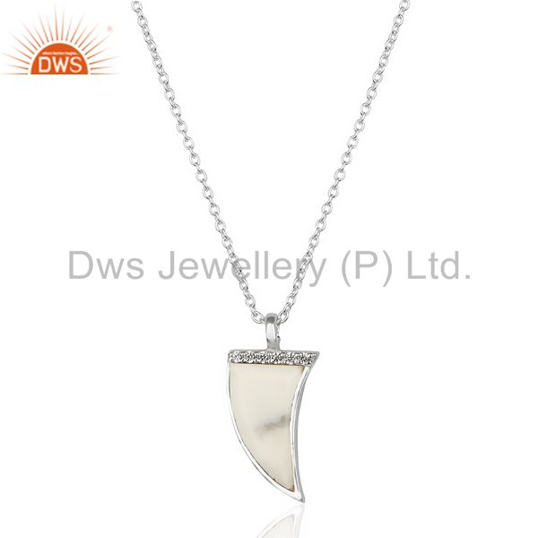 Howlite Horn Cz Studded Chain 92.5 Sterling Silver Pendent TrendyJewelry