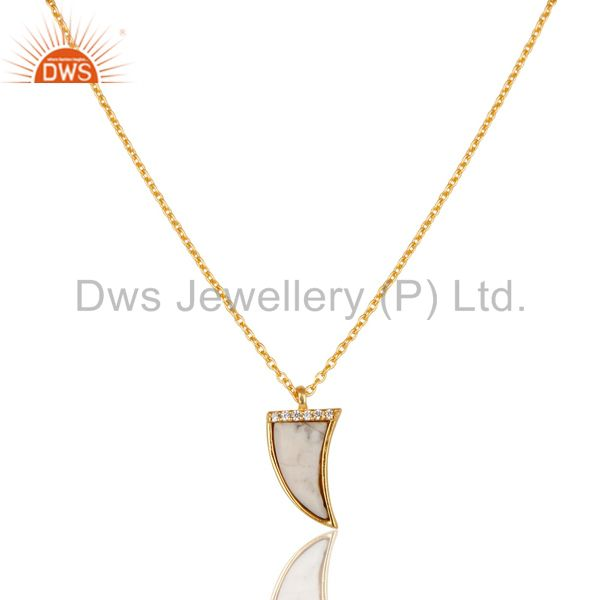 Howlite horn cz studded 14 k gold plated chain 92.5 sterling silver pendent