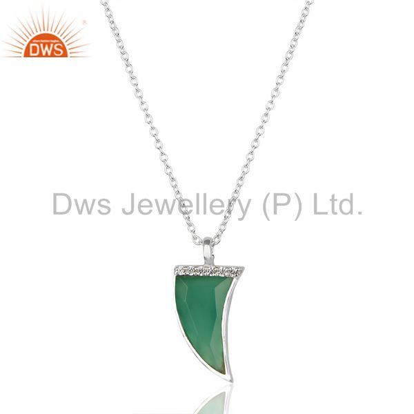 Green onyx horn cz studded chain 92.5 sterling silver pendent, trendy jewelry