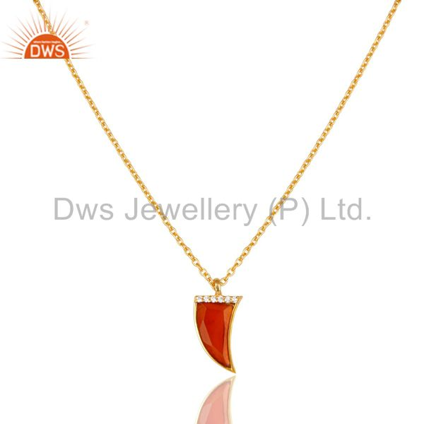 Red Onyx Horn Cz Studded 14 K Gold Plated chain 92.5 Sterling Silver Pendent