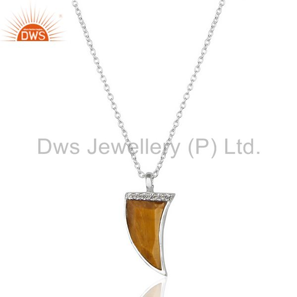Tigers eye cz studded chain 92.5 sterling silver pendent, trendy pendent jewelry