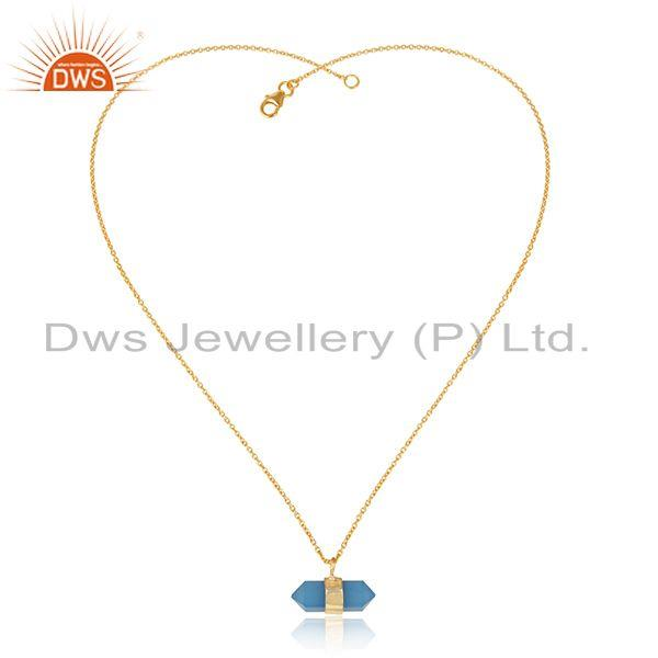 Designer blue chalcedony pencil necklace with yellow gold over silver