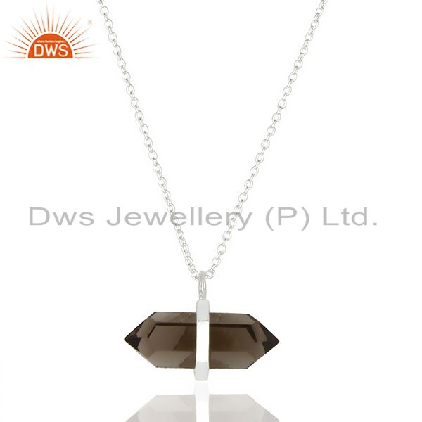 Smoky Topaz Terminated Pencil 92.5 Sterling Silver Pendent Wholesale Jewelry