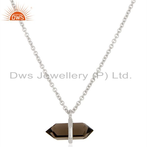 Smoky topaz terminated pencil 925 sterling silver pendent wholesale jewelry