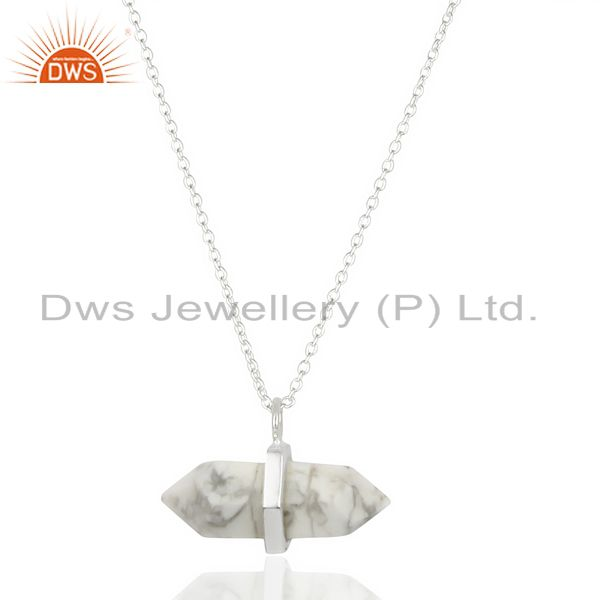 Howlite Terminated Pencil 92.5 Sterling Silver Pendent Wholesale Jewelry