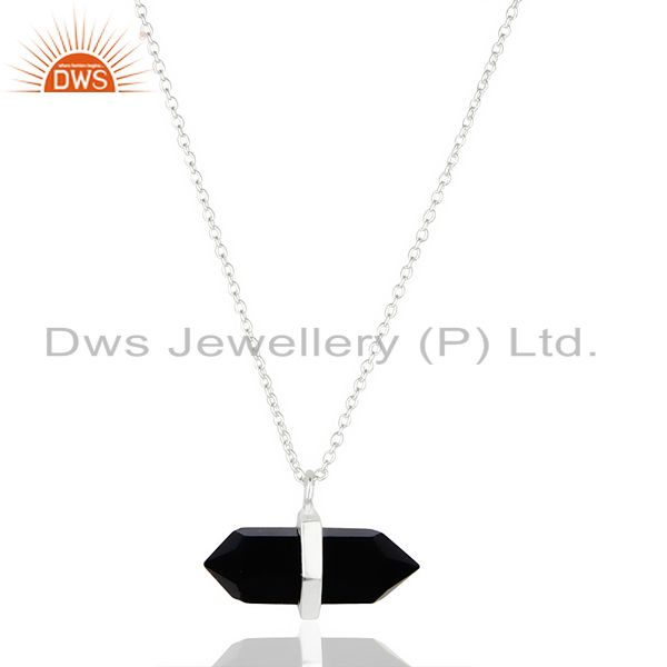 Black Onyx Terminated Pencil 92.5 Sterling Silver Pendent Wholesale Jewelry
