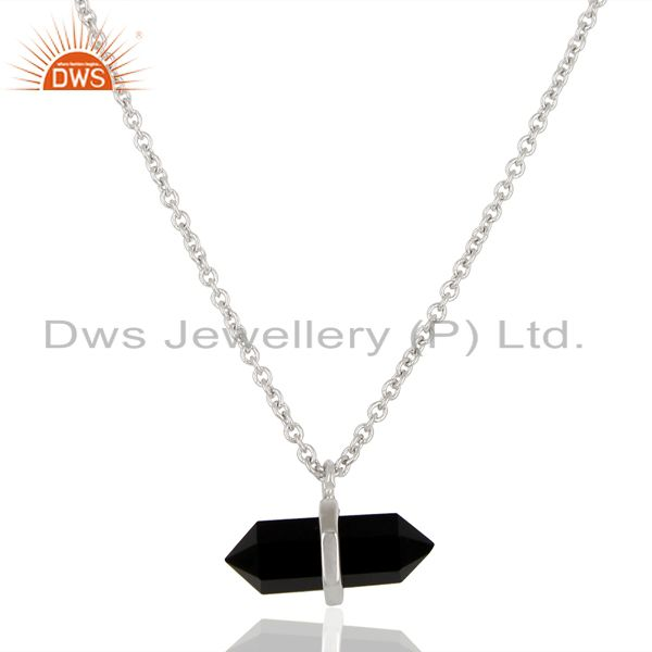 Black Onyx Terminated Pencil 92.5 Sterling White Rhodium Plated Silver Pendent
