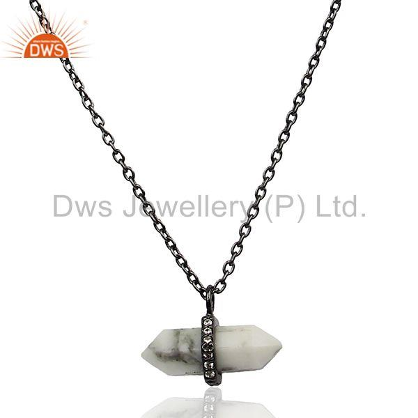 Terminated Pencil Gemstone 925 Silver Black Chain Pendant Manufacturer