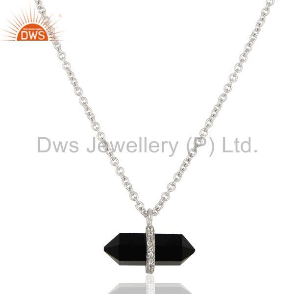 Black Onyx Terminated Pencil Cz Studded 925 Sterling Silver Pendent