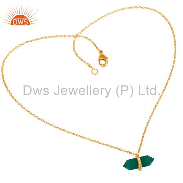Green Onyx Terminated Pencil Cz Studded 14K Gold Plated Silver Pendent