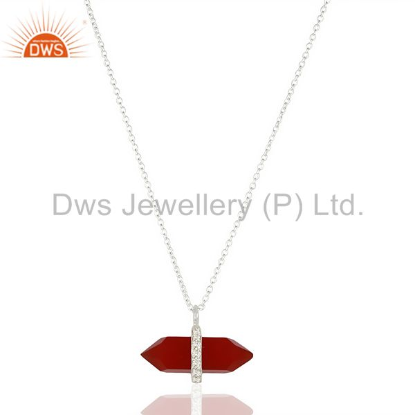 Red Onyx Terminated Pencil Cz Studded 92.5 Sterling Silver Pendent
