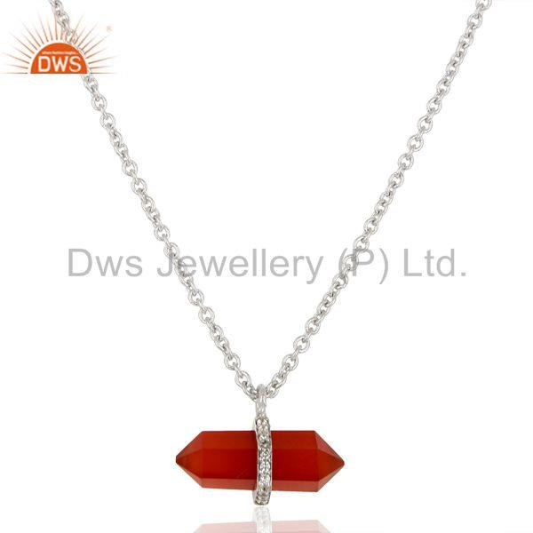 Red Onyx Terminated Pencil Cz Studded 925 Sterling Silver Chain Pendent