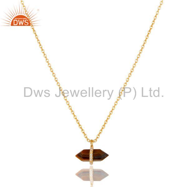 Tigereye Terminated Pencil Cz Studded 14K Gold Plated Silver Pendent
