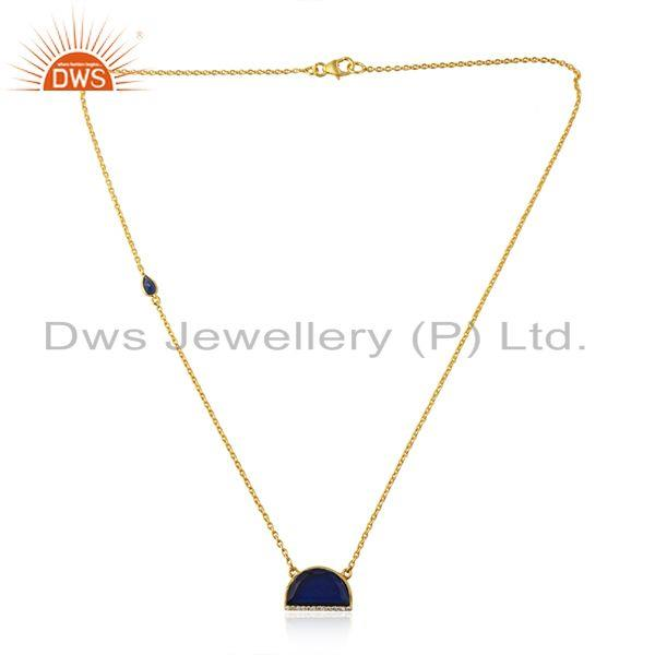Blue Corundum Gemstone Gold Plated Silver Chain Pendant Necklace