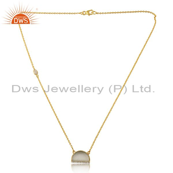 CZ White Moonstone Half Moon Gold Plated Silver Pendant Necklace