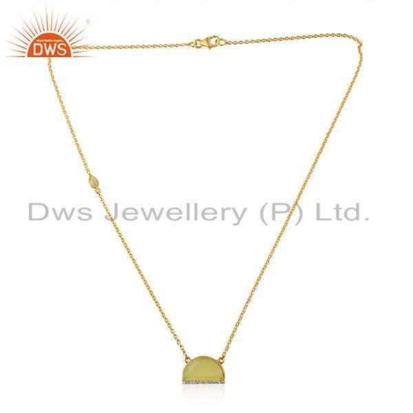 Cz yellow moonstone designer gold plated silver pendant necklace