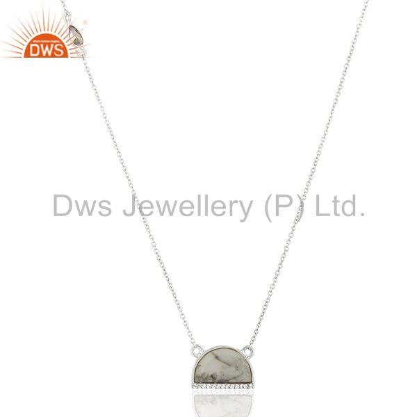Howlite half moon cz studded 92.5 sterling silver wholesale pendent