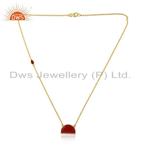 CZ Red Onyx Gemstone Gold Plated Silver Half Moon Chain Necklace
