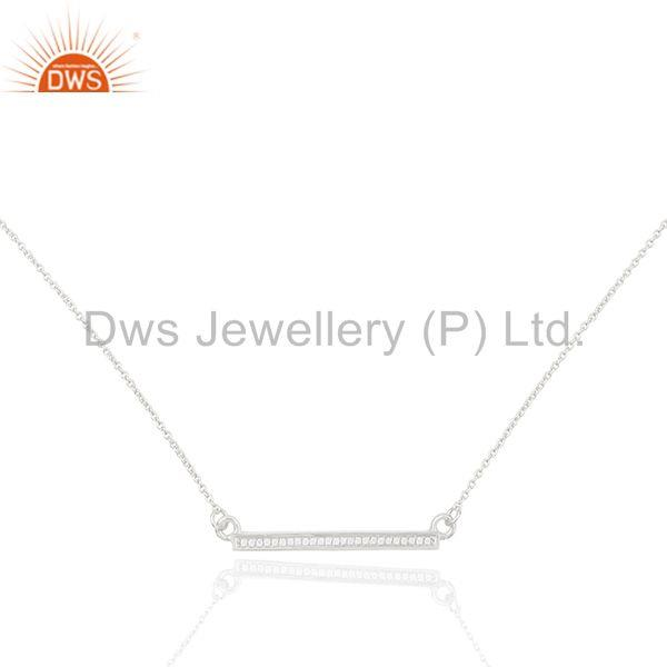 White Cz Studded Long Bar Necklace 92.5 Sterling Silver Necklace