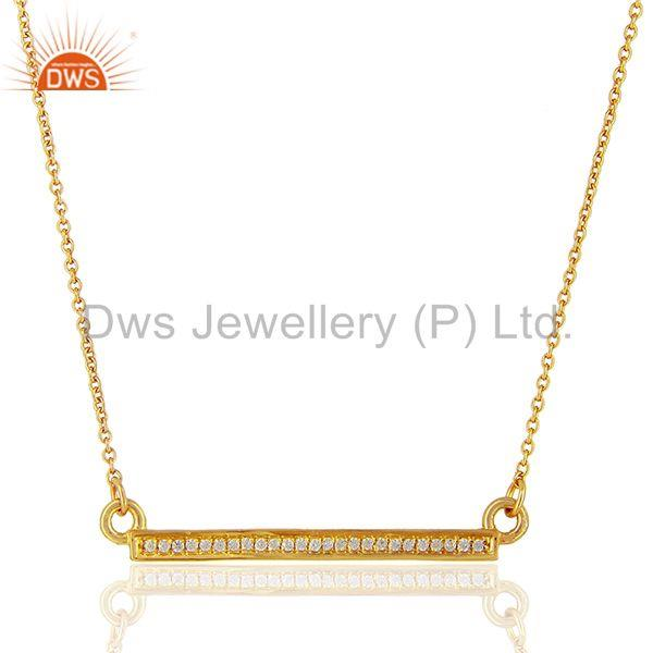 White Cz Studded Long Bar Necklace Gold Plated 92.5 Sterling Silver Necklace