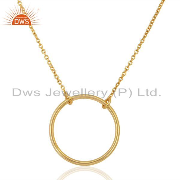 Round Shape Simple Wholesale Gold Plated 92.5 Sterling Silver Wholesale Pendent